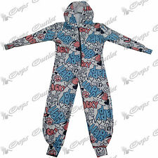 New Kids Boys Girls Happy Lucky Hooded All in One Jumpsuit Piece Playsuit Onesie