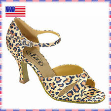 "161501 Leopard Satin 2.2"" New Quality Ballroom Latin Dance Shoes (sz5 -10.5)"