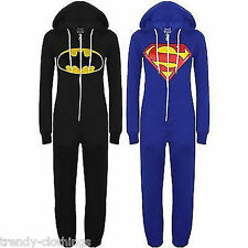 New Womens Men Unisex Batman and Superman Print Hooded Zip Front Jumpsuit Onesie