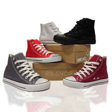 Unisex Flat Hi Top Plimsolls Pumps Lace Up Casual Canvas Trainers Size From 3-8