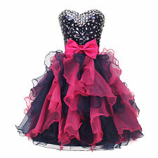 Strapless Organza Graduation Dance Ball Gown Cocktail Evening Prom Party Dress