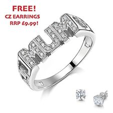 925 Sterling Silver Stoned MUM Ring with FREE EARRINGS! rrp £49.99