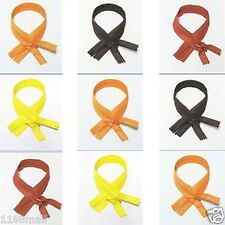 "wholesale 15-1000 zippers 22""/56cm yellow orange brown closed end invisible zip"