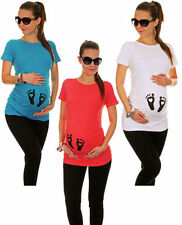 Foot Print Maternity Top Punk Heart Alternative Ruched T-Shirt Blue Pink Love