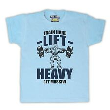 TRAIN HARD LIFT HEAVY GET MASSIVE GYM WORKOUT KIDS T SHIRT TEE ALL SIZES & COLS