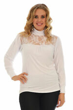 Womens Lace Polo Neck Ladies Top Pull Over High Neck Jumper Nouvelle Plus Size