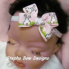 EASTER LT PINK BUNNY COTTONTAIL DAINTY HAIR BOW LACE HEADBAND BABY Super Cute ON