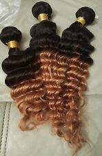 UK - Ombre 1B/27# Virgin 6A Brazilian Deep Wave Curly Remy Human Hair Extensions