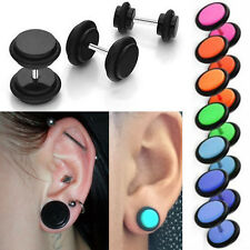 "1-4 Pairs Acrylic Fake Plugs for Pierced Ears Bright Colors & O-Rings 4G-1/2"" US"