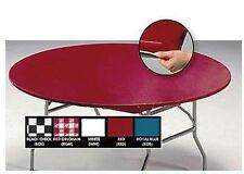 """12 STAY-PUT 60"""" ROUND FITTED TABLE COVERS TABLECLOTHS ~ BLUE, RED WHITE OR BLACK"""