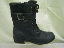 Girls Spot On Blue Lace/Zip Up Military Boots with Buckle Detail G8200