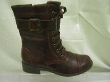 Girls Spot On Mid Brown Lace/Zip Up Military Boots with Buckle Detail G8200