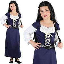 GIRLS CHILD MEDIEVAL WENCH BLUE MAID MARION MARIAN TUDOR FANCY DRESS COSTUME