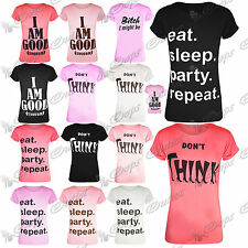 Womens Ladies Stretchy Casual Short Sleeves Slogan Printed T Shirt Top Size 8-14