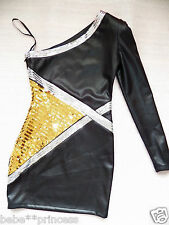 NWT bebe black one shoulder long sleeve silver gold sequin top dress XS S M L