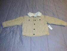 NWT OLD NAVY TODDLER BOYS COTTON FAUX FUR BUTTON UP SPRING FALL JACKET COAT