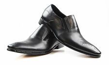 NEW ZASEL MENS BLACK LEATHER SLIP ON WORK FORMAL CASUAL WORK DRESS LOAFERS SHOES
