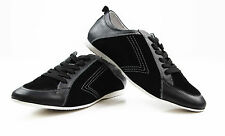 ZASEL MENS BLACK LEATHER SUEDE CASUAL SNEAKERS DRIVING WORK DRESS CASUAL SHOES