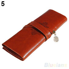 Retro Fashion Roll Leather Make up Cosmetic Pen Pencil Case Pouch Purse Bag B27U
