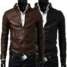 Cool Men's Stylish Faux Leather Casual Jackets Slim Fitted Zip Blazer Coat IN US