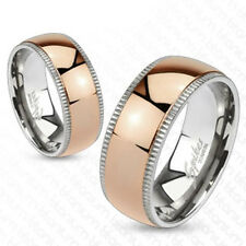 Titanium Ring Mens Womens Ring Silver Rosé Gold Edge Dome New Coolbody Jewellery