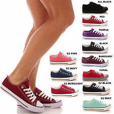 LADIES WOMENS TRAINERS PUMPS LACE UP CASUAL SNEAKERS FLAT COMFORT SHOES SIZE
