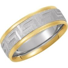 Greek Key Comfort Fit  Wedding Band in 14kt Two Tone Gold.7 mm Sizes 4 - 12.5
