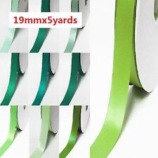 "Double Faced Satin Ribbon 3/4"" / 19mm. Wedding 5 Yards, lime to green"