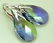 **NEW MODEL** SILVER 925 *ALMOND* 42 COLORS - EARRINGS WITH GENUINE SWAROVSKI