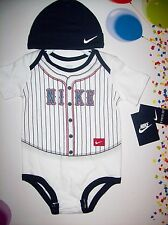 Nike Baseball Bodysuit Hat 2pc Set Baby Infant Boy Girl Sz Select Months NWT