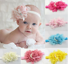 Baby Toddler Elastic Rose Flower Pearl Headband Hairband Hair Band 13 Color