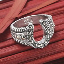 Western Jewelry Silver Marcasite Horseshoe Ring Size 5 6 7 8 9 10 New NWT Rodeo