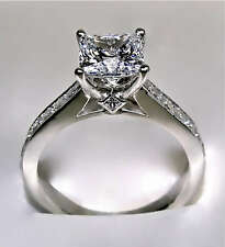 2.64Ct Princess Cut Engagement Ring with Optional Band - 14K or 18K White Gold