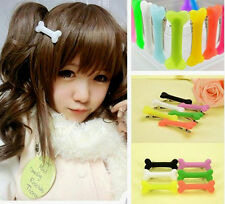 Hot Women Gril Cute Vivid Dog Bone Hair Clips Side Band Hairpin Colorful 2pcs