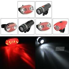 Bike 5/8 White LED Front Headlamp Light + 5/9 Red Rear Torch Flashlight 7 Modes