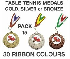 PACK OF 15 (86p each) Table Tennis Medals Budget & Ribbon 50mm Ref: GMM7050-MR1