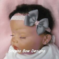 GREY GRAY & SOFT LIGHT PINK DAINTY SMALL HAIR BOW LACE HEADBAND INFANT EASTER
