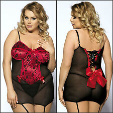 Sexy Bustier Women's Plus Size Lace Babydoll Lingerie Red & Black Sizes 12-24