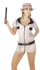 Ladies Womens Pink Police Officer Fancy Dress Costume Sexy Zip Handcuff