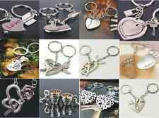 1 Pair Lovers keychain Couples Keyring Set Cute LOVE Keyfob Gift Heart