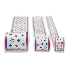 Neotrims Fun Grosgrain Petersham Ribbon USA America Stars Print 16mm, 25mm, 38mm