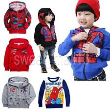 Spiderman 4 Design Kids Boys Toddlers Girls Tops Zipper Hoodies Jumper Size 1-8Y