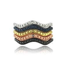 Multi Color Diamond Accents Stackable Wave Ring Set