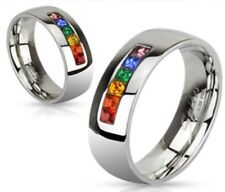 RAINBOW/Gay/Lesbian/PRIDE/Couples/Wedding/Stainless Steel Band Ring/5-13 (2154)