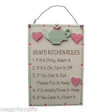 MUMS KITCHEN RULES  Wooden hanging wall plaque - Cream & Pink -  Teapot & Hearts
