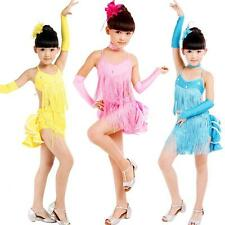 Kids Girls Latin Skirts Salsa Tango Sequin Dance Fairy Tutu Dresses Sz 5-11 Year