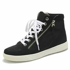 Women's Shiny Sparkled Zipper High Top Sneakers Trainers Ankle Boots Black Beige