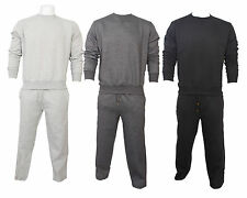 Mens New Plain Crew Neck Jogging Tracksuit Bottoms Sweatshirt Fleece Top S - XL