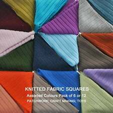 Neotrims Knit Rib Fat Quarters Fabric Squares Patchwork,Assorted Colours 12 Pack