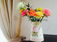 SHABBY METAL JUG PITCHER WITH CHIC Flowers WEDDING TABLE DECORATION / Vase/ Pot